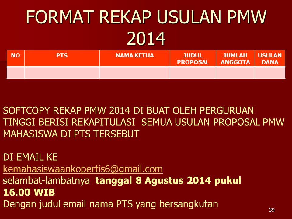 FORMAT REKAP USULAN PMW 2014