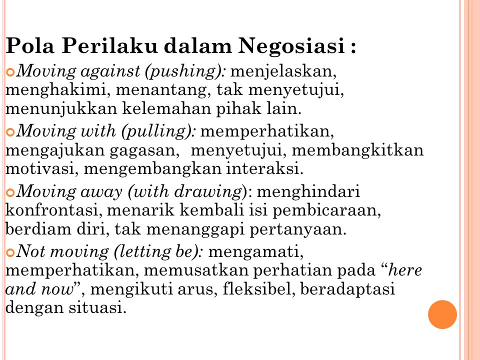 Pola Perilaku dalam Negosiasi :