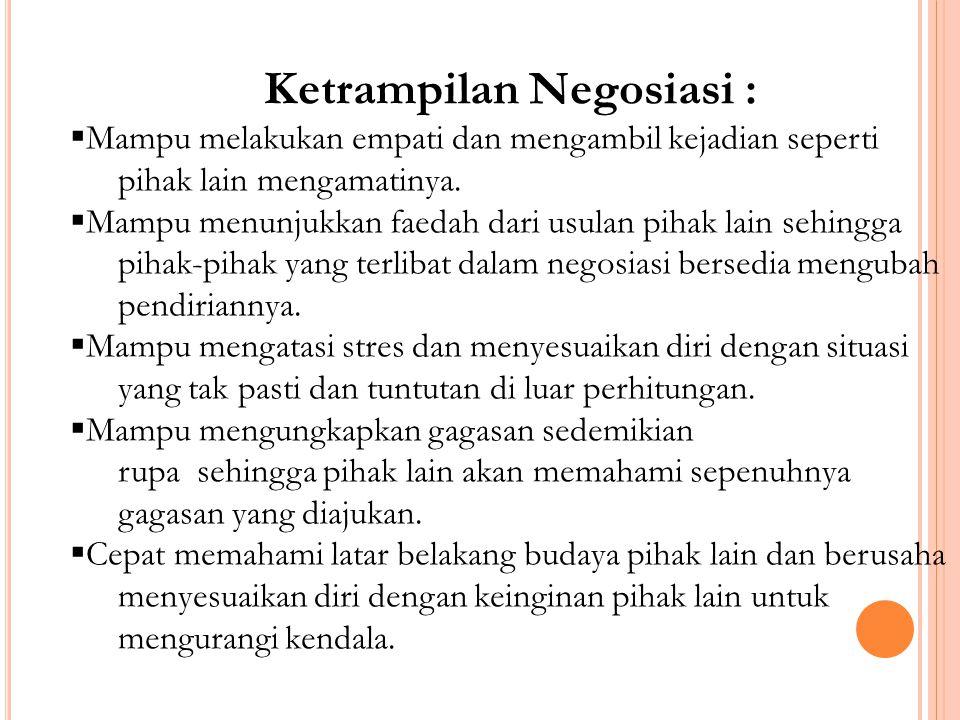 Ketrampilan Negosiasi :