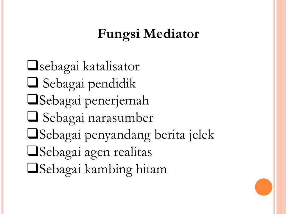 Fungsi Mediator sebagai katalisator. Sebagai pendidik. Sebagai penerjemah. Sebagai narasumber.