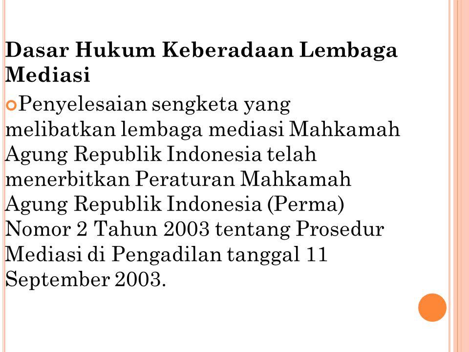 Dasar Hukum Keberadaan Lembaga Mediasi