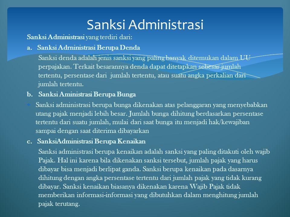 Sanksi Administrasi Sanksi Administrasi yang terdiri dari: