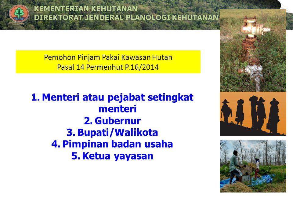 Pemohon Pinjam Pakai Kawasan Hutan Pasal 14 Permenhut P.16/2014