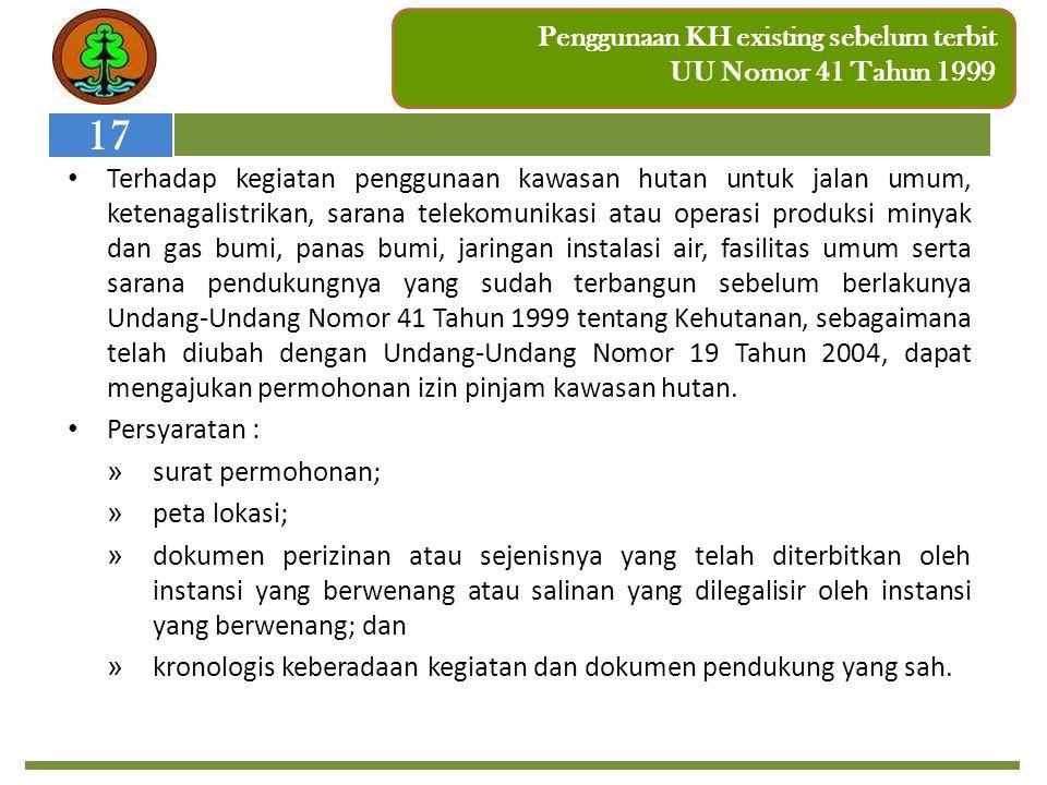 Penggunaan KH existing sebelum terbit UU Nomor 41 Tahun 1999