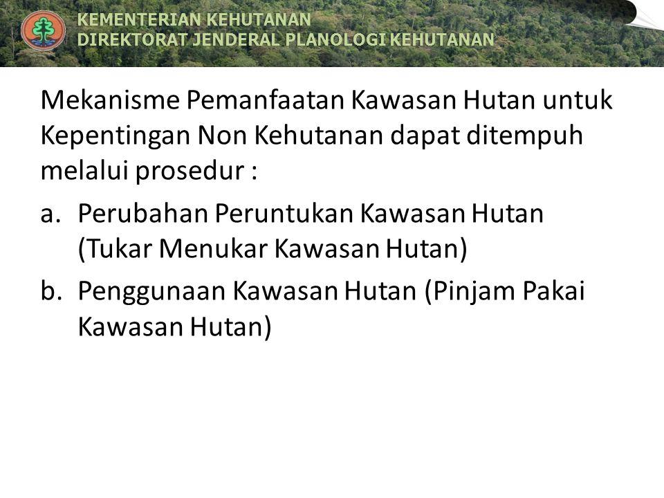 Mekanisme Pemanfaatan Kawasan Hutan untuk Kepentingan Non Kehutanan dapat ditempuh melalui prosedur :
