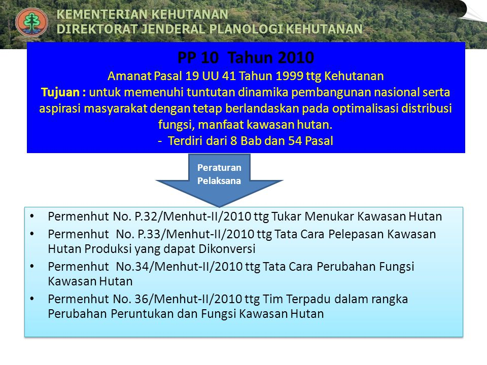 PP 10 Tahun 2010 Amanat Pasal 19 UU 41 Tahun 1999 ttg Kehutanan Tujuan : untuk memenuhi tuntutan dinamika pembangunan nasional serta aspirasi masyarakat dengan tetap berlandaskan pada optimalisasi distribusi fungsi, manfaat kawasan hutan. - Terdiri dari 8 Bab dan 54 Pasal