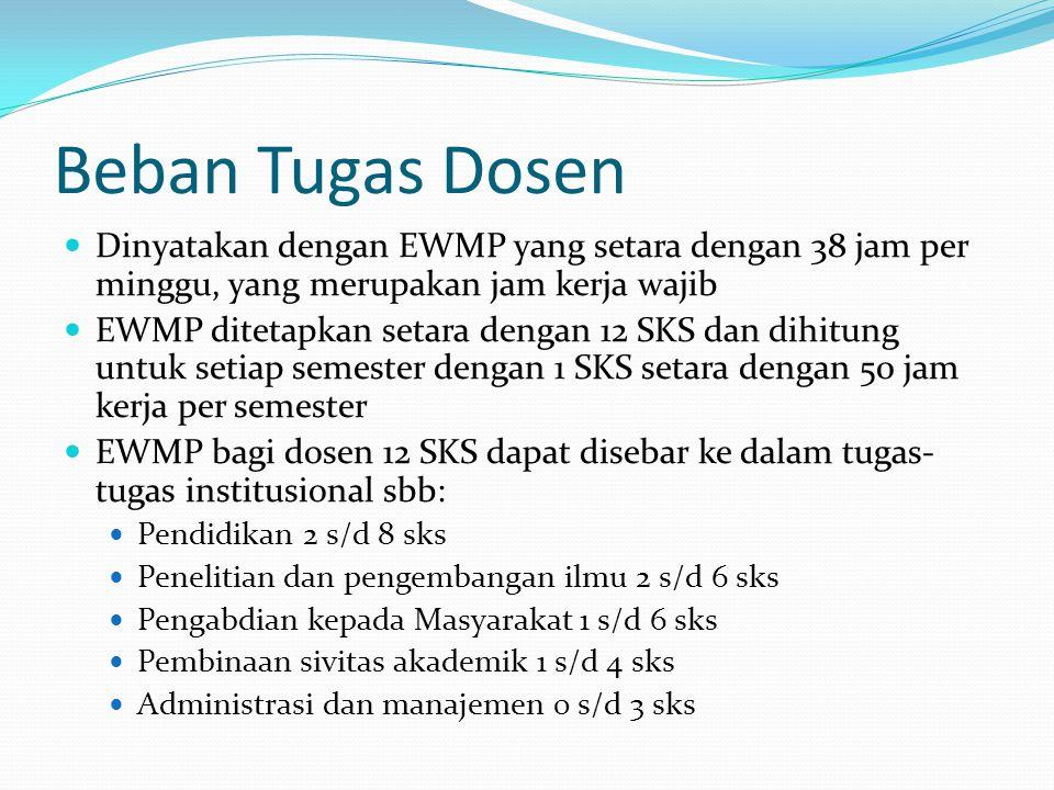 Beban Tugas Dosen Dinyatakan dengan EWMP yang setara dengan 38 jam per minggu, yang merupakan jam kerja wajib.