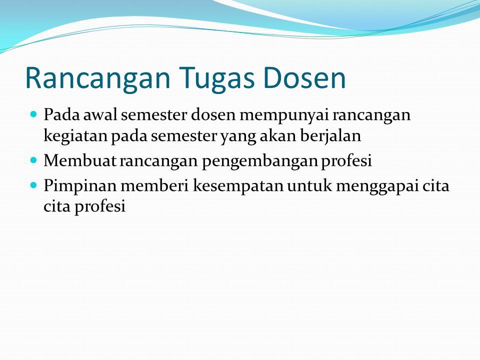 Rancangan Tugas Dosen Pada awal semester dosen mempunyai rancangan kegiatan pada semester yang akan berjalan.