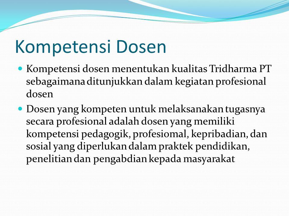 Kompetensi Dosen Kompetensi dosen menentukan kualitas Tridharma PT sebagaimana ditunjukkan dalam kegiatan profesional dosen.