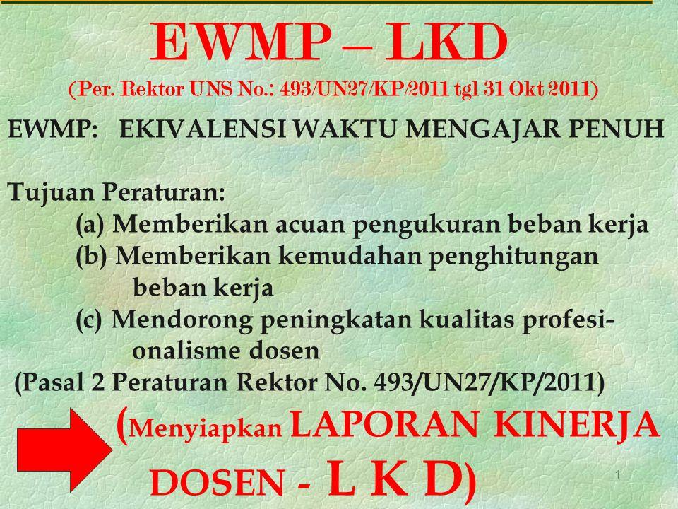 EWMP – LKD DOSEN - L K D) EWMP: EKIVALENSI WAKTU MENGAJAR PENUH