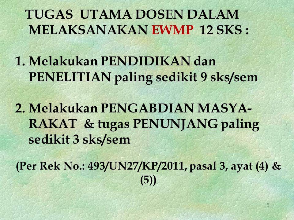(Per Rek No.: 493/UN27/KP/2011, pasal 3, ayat (4) & (5))