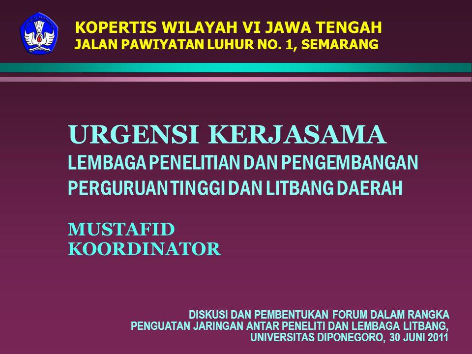 KOPERTIS WILAYAH VI JAWA TENGAH JALAN PAWIYATAN LUHUR NO. 1, SEMARANG