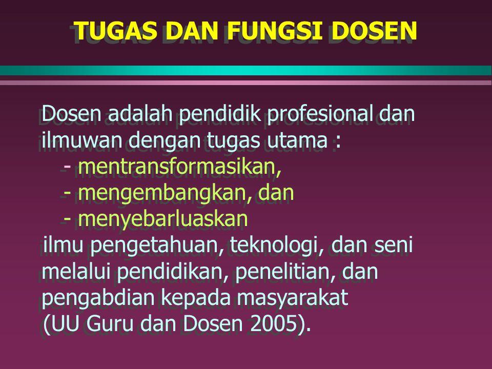 TUGAS DAN FUNGSI DOSEN Dosen adalah pendidik profesional dan ilmuwan dengan tugas utama : - mentransformasikan,