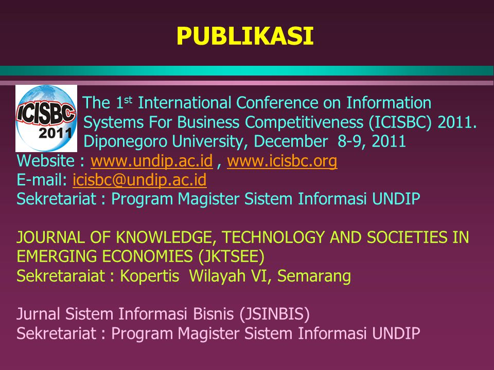 PUBLIKASI The 1st International Conference on Information