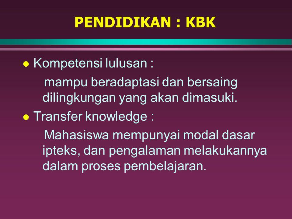 PENDIDIKAN : KBK Kompetensi lulusan :