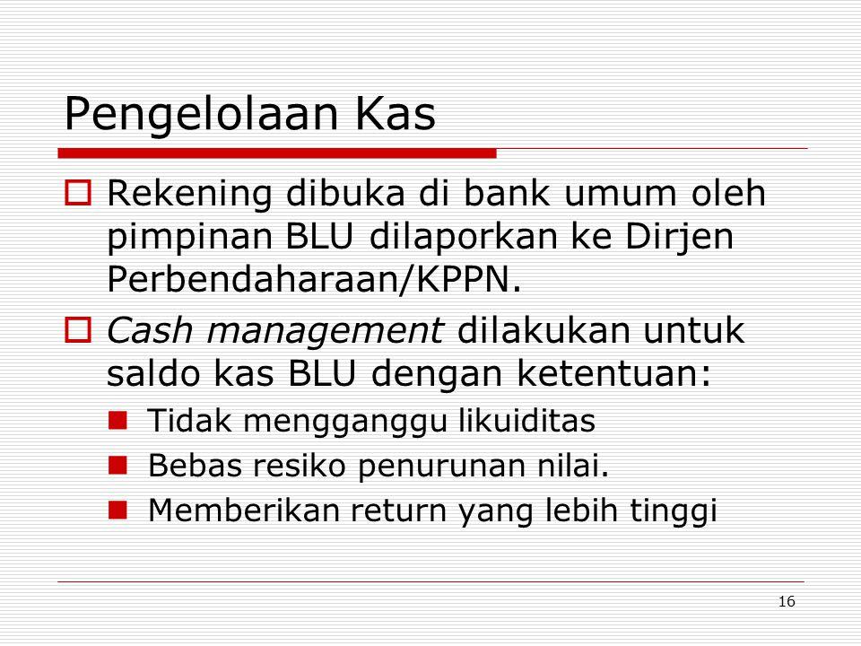 Pengelolaan Kas Rekening dibuka di bank umum oleh pimpinan BLU dilaporkan ke Dirjen Perbendaharaan/KPPN.