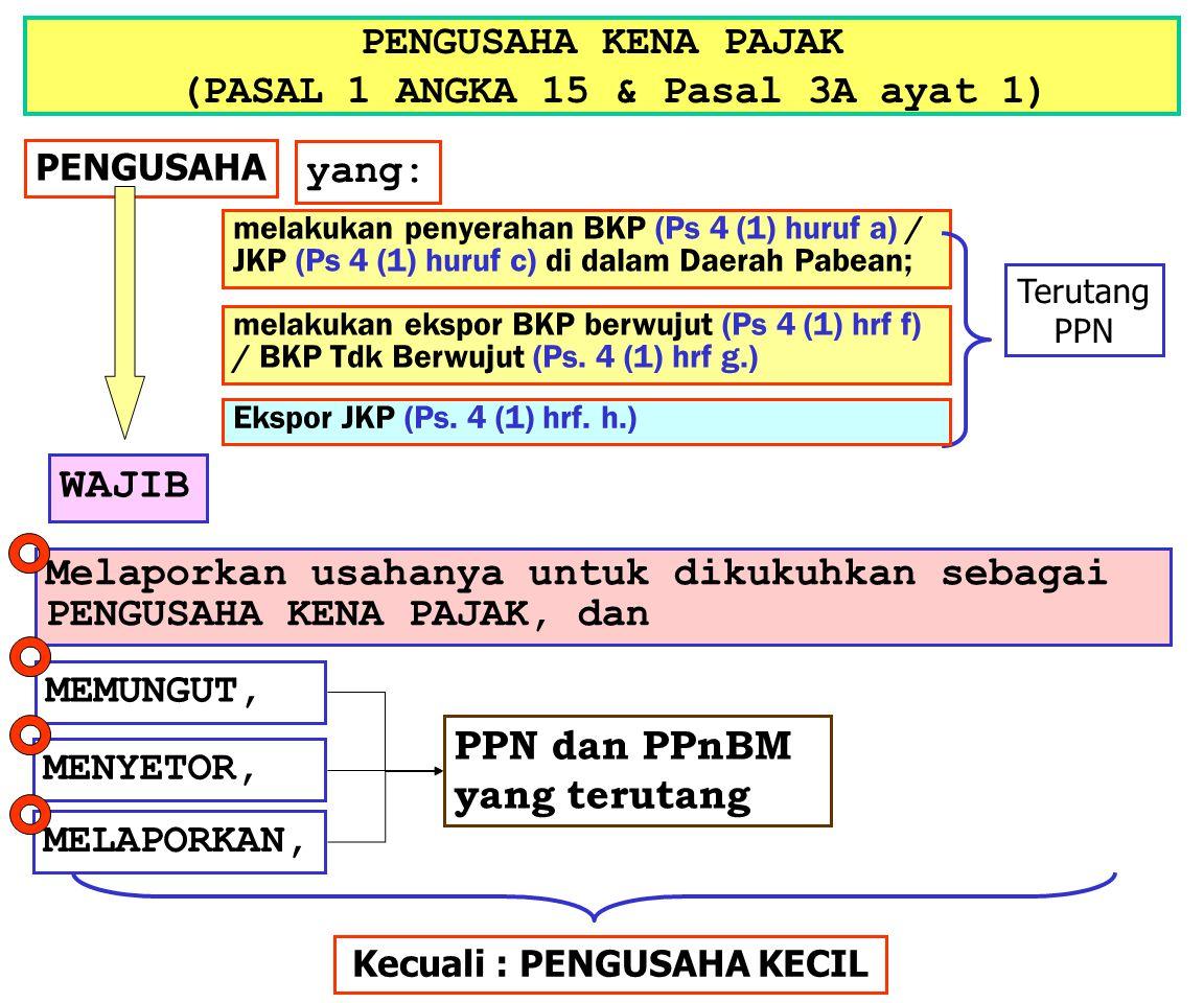 PENGUSAHA KENA PAJAK (PASAL 1 ANGKA 15 & Pasal 3A ayat 1)