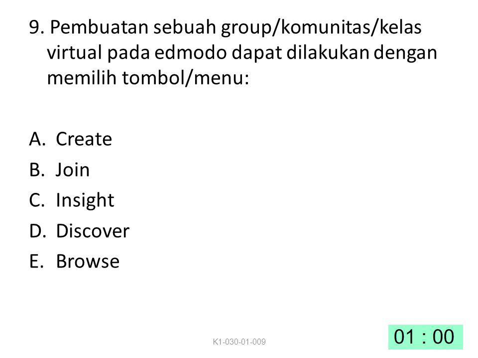 9. Pembuatan sebuah group/komunitas/kelas virtual pada edmodo dapat dilakukan dengan memilih tombol/menu: