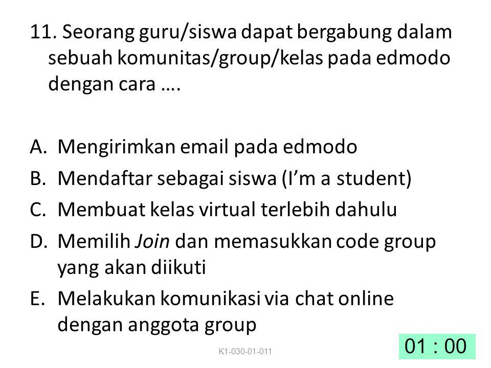 Mengirimkan email pada edmodo Mendaftar sebagai siswa (I'm a student)
