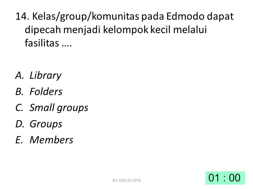 14. Kelas/group/komunitas pada Edmodo dapat dipecah menjadi kelompok kecil melalui fasilitas ….