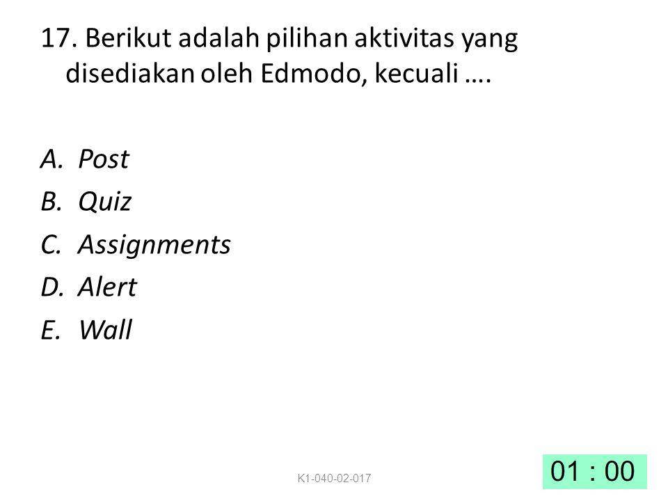 17. Berikut adalah pilihan aktivitas yang disediakan oleh Edmodo, kecuali ….