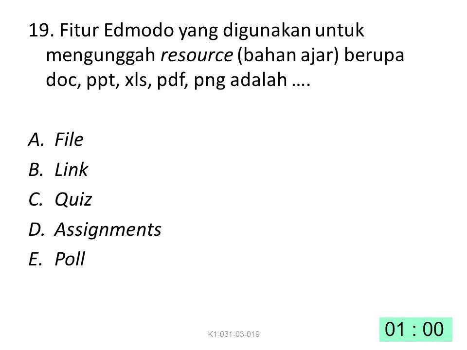 19. Fitur Edmodo yang digunakan untuk mengunggah resource (bahan ajar) berupa doc, ppt, xls, pdf, png adalah ….