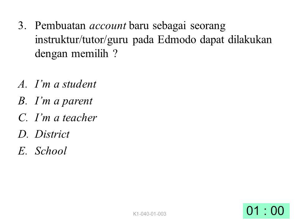 Pembuatan account baru sebagai seorang instruktur/tutor/guru pada Edmodo dapat dilakukan dengan memilih