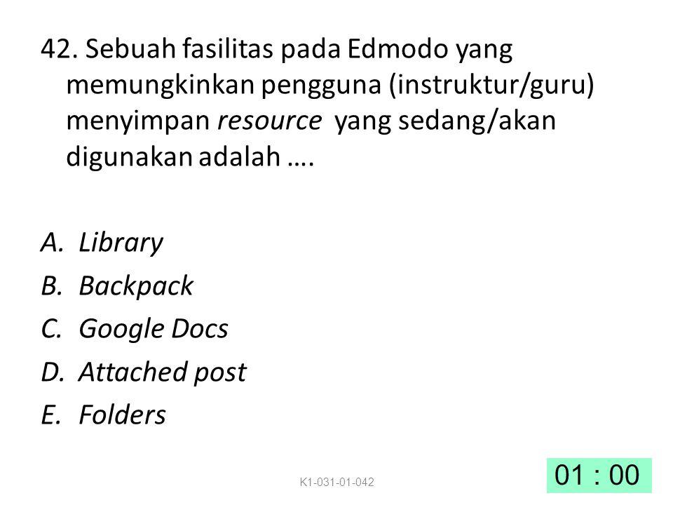 42. Sebuah fasilitas pada Edmodo yang memungkinkan pengguna (instruktur/guru) menyimpan resource yang sedang/akan digunakan adalah ….