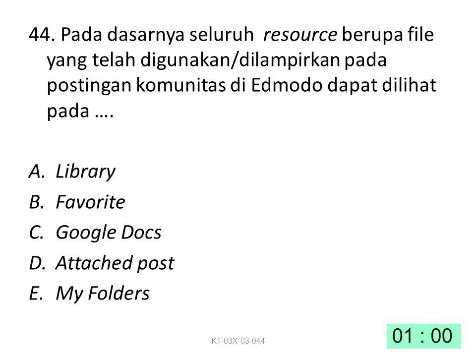 44. Pada dasarnya seluruh resource berupa file yang telah digunakan/dilampirkan pada postingan komunitas di Edmodo dapat dilihat pada ….
