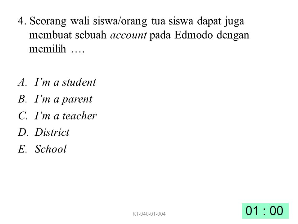4. Seorang wali siswa/orang tua siswa dapat juga membuat sebuah account pada Edmodo dengan memilih ….