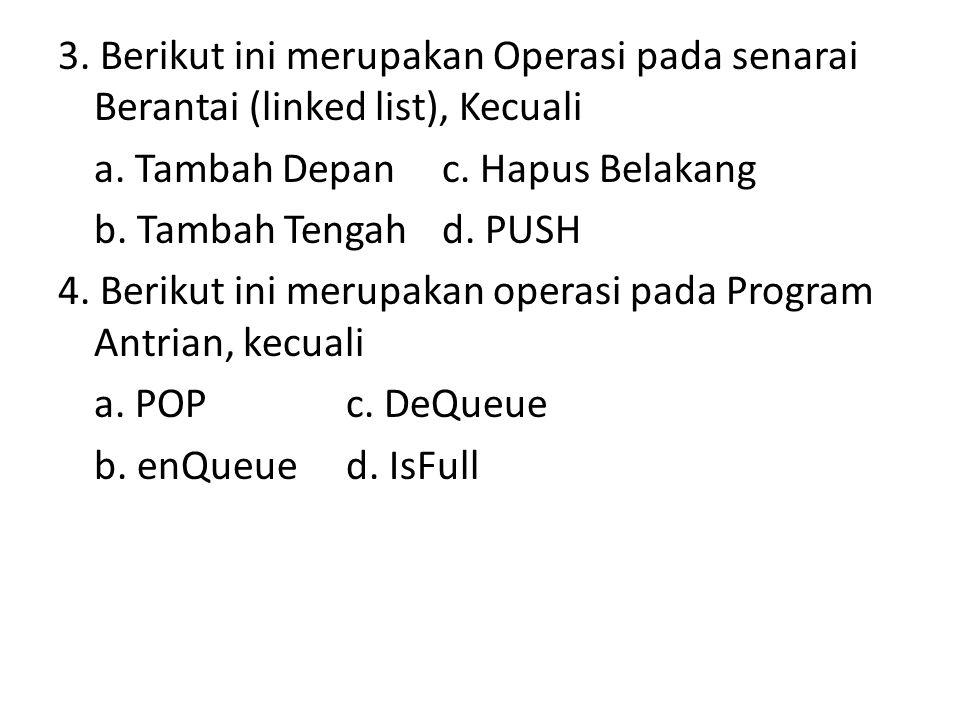 3. Berikut ini merupakan Operasi pada senarai Berantai (linked list), Kecuali a.