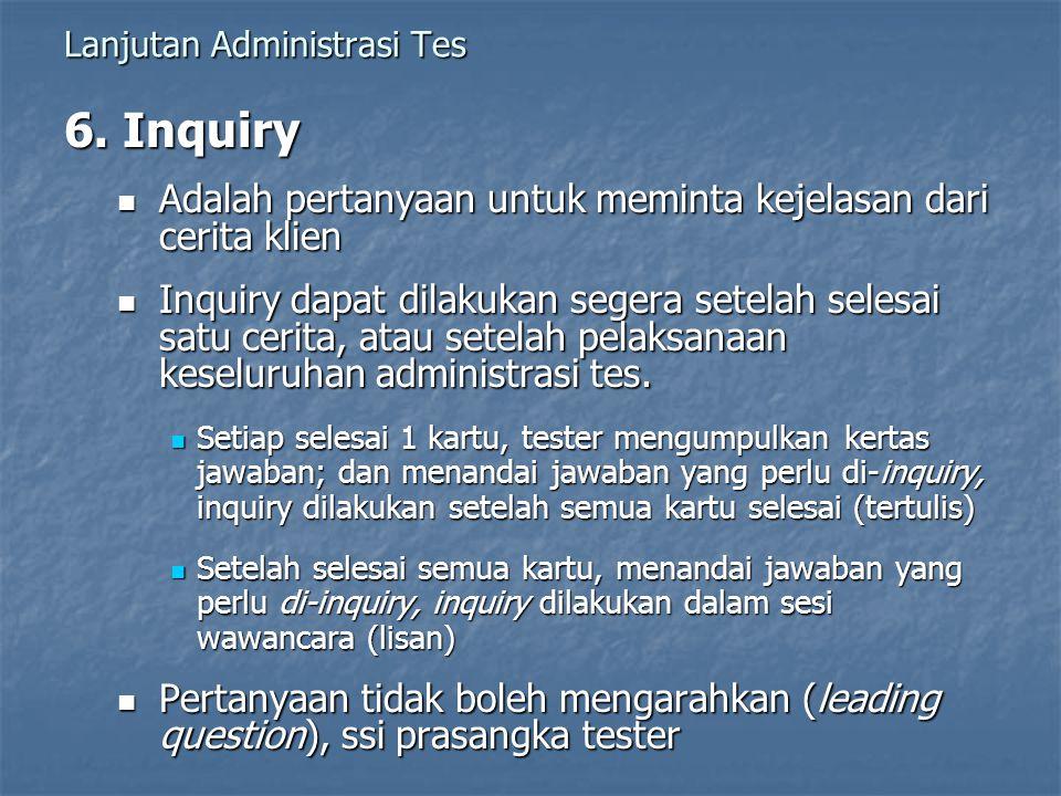 Lanjutan Administrasi Tes