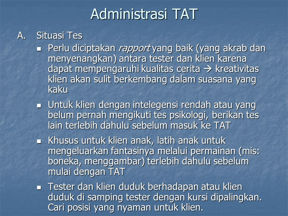 Administrasi TAT Situasi Tes
