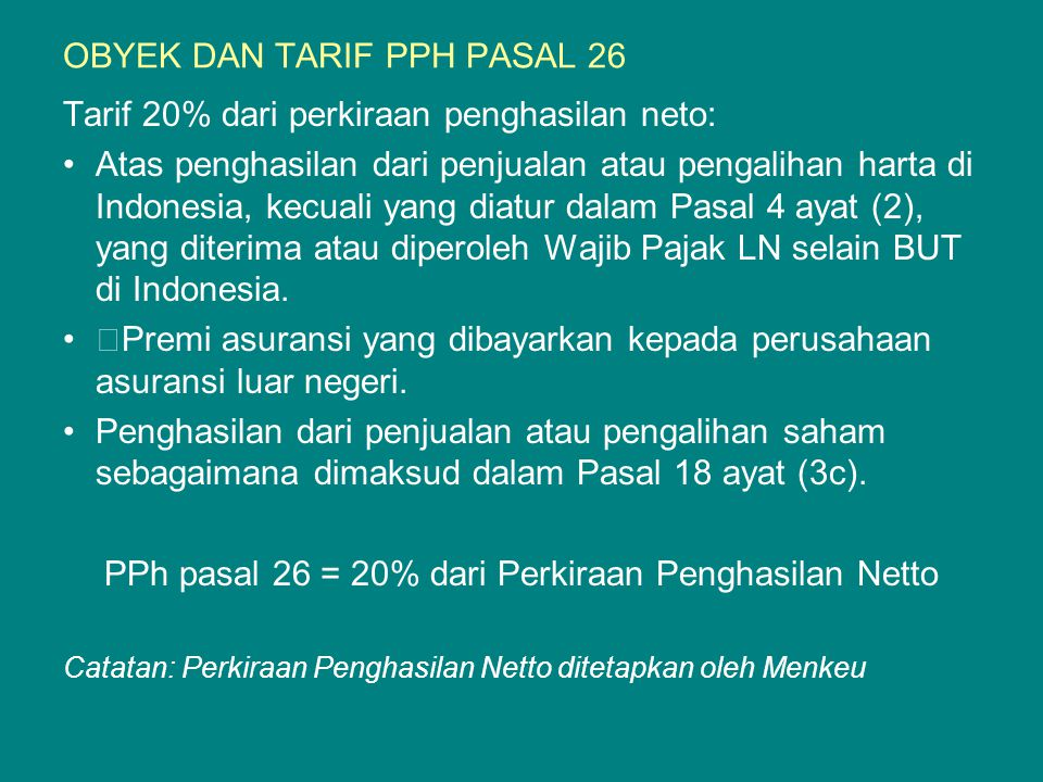 OBYEK DAN TARIF PPH PASAL 26