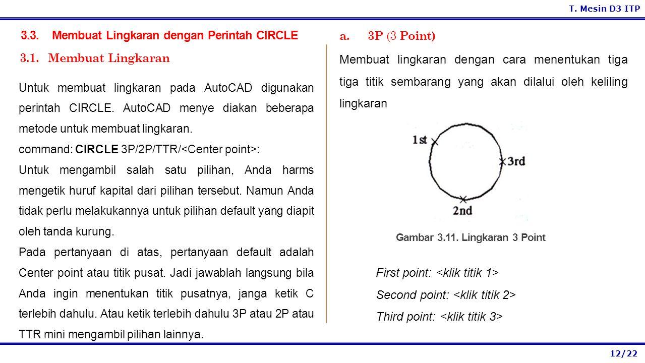 3.3. Membuat Lingkaran dengan Perintah CIRCLE a. 3P (3 Point)