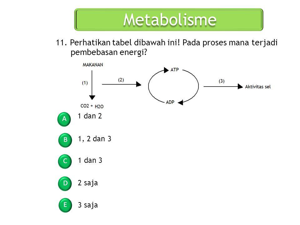 Metabolisme 11. Perhatikan tabel dibawah ini! Pada proses mana terjadi pembebasan energi 1 dan 2.