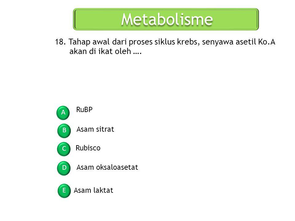 Metabolisme 18. Tahap awal dari proses siklus krebs, senyawa asetil Ko.A akan di ikat oleh …. RuBP.