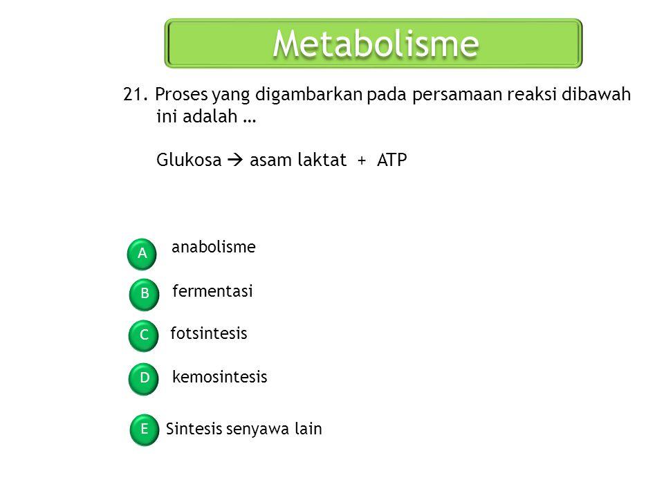 Metabolisme 21. Proses yang digambarkan pada persamaan reaksi dibawah ini adalah … Glukosa  asam laktat + ATP.