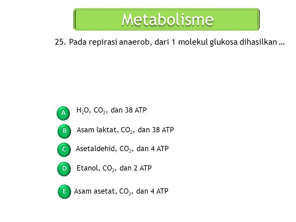 Metabolisme 25. Pada repirasi anaerob, dari 1 molekul glukosa dihasilkan … H2O, CO2, dan 38 ATP. A.