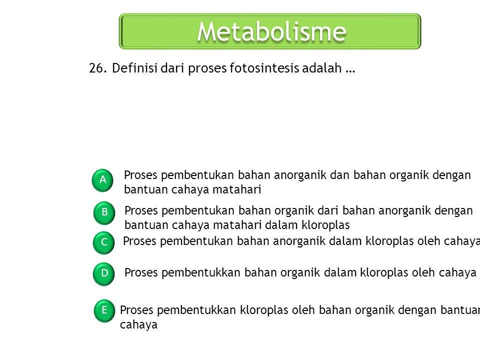 Metabolisme 26. Definisi dari proses fotosintesis adalah …