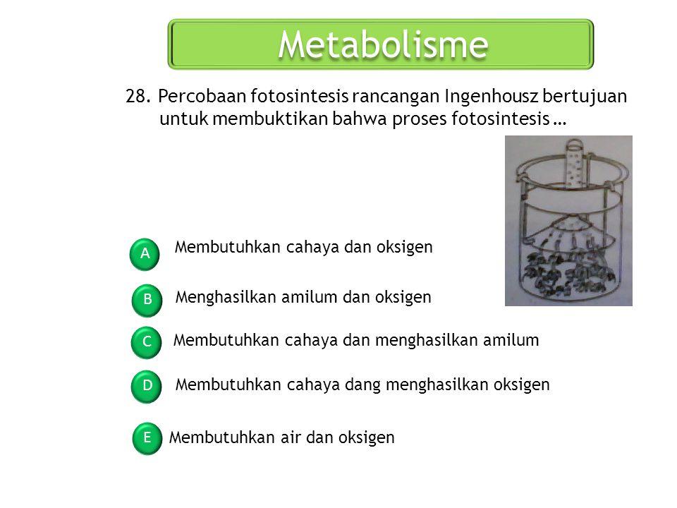 Metabolisme 28. Percobaan fotosintesis rancangan Ingenhousz bertujuan untuk membuktikan bahwa proses fotosintesis …