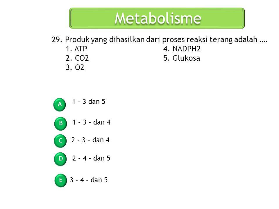 Metabolisme 29. Produk yang dihasilkan dari proses reaksi terang adalah …. 1. ATP 4. NADPH2. 2. CO2 5. Glukosa.