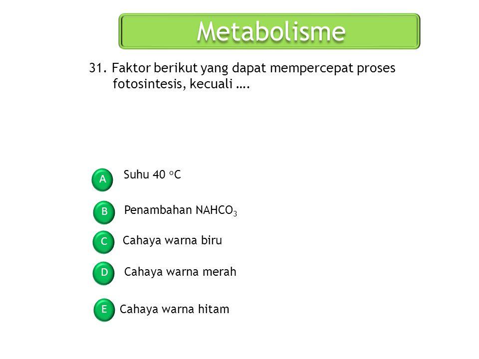Metabolisme 31. Faktor berikut yang dapat mempercepat proses fotosintesis, kecuali …. Suhu 40 oC. A.
