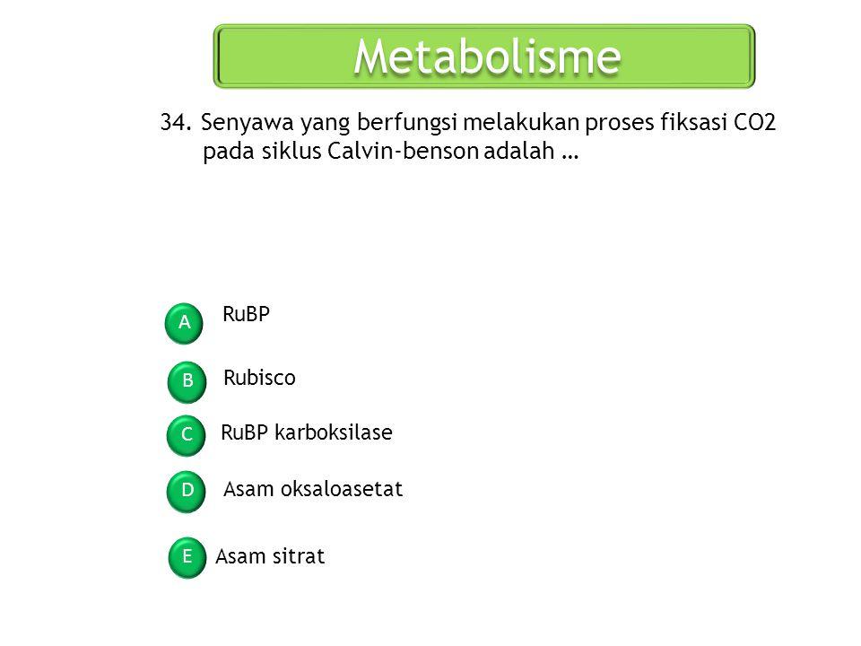 Metabolisme 34. Senyawa yang berfungsi melakukan proses fiksasi CO2 pada siklus Calvin-benson adalah …