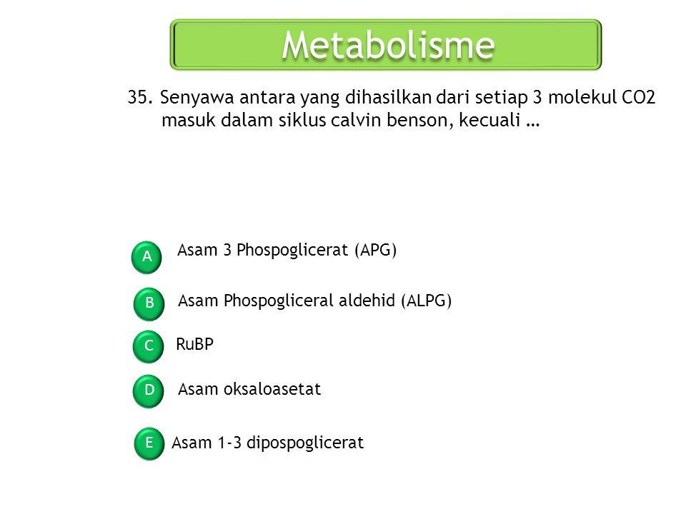 Metabolisme 35. Senyawa antara yang dihasilkan dari setiap 3 molekul CO2 masuk dalam siklus calvin benson, kecuali …
