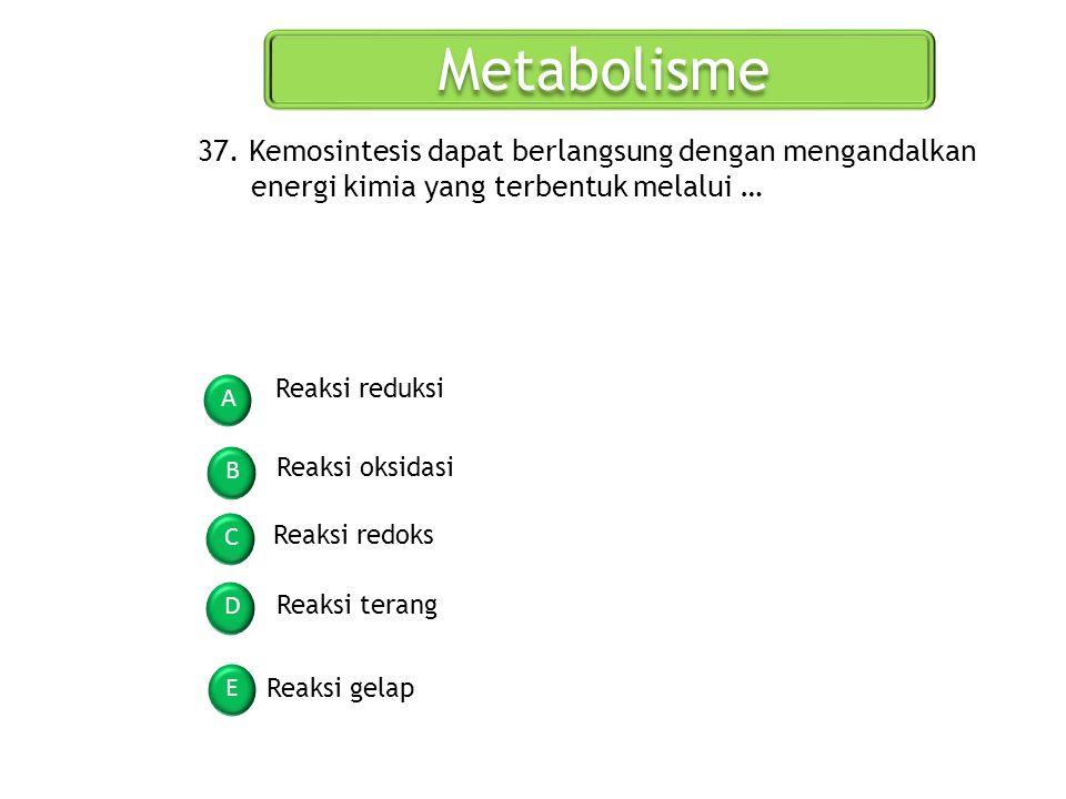 Metabolisme 37. Kemosintesis dapat berlangsung dengan mengandalkan energi kimia yang terbentuk melalui …