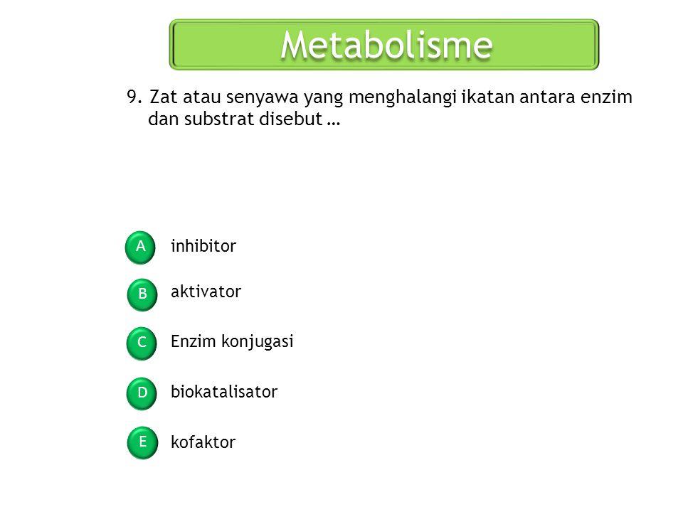 Metabolisme 9. Zat atau senyawa yang menghalangi ikatan antara enzim dan substrat disebut … A. inhibitor.
