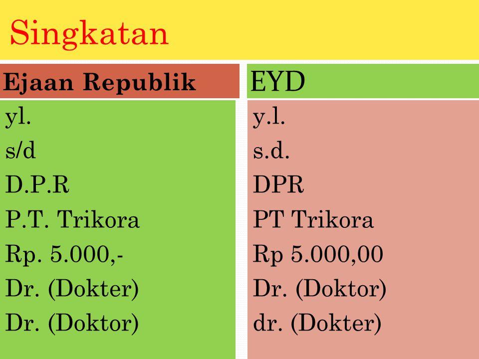 Singkatan EYD Ejaan Republik