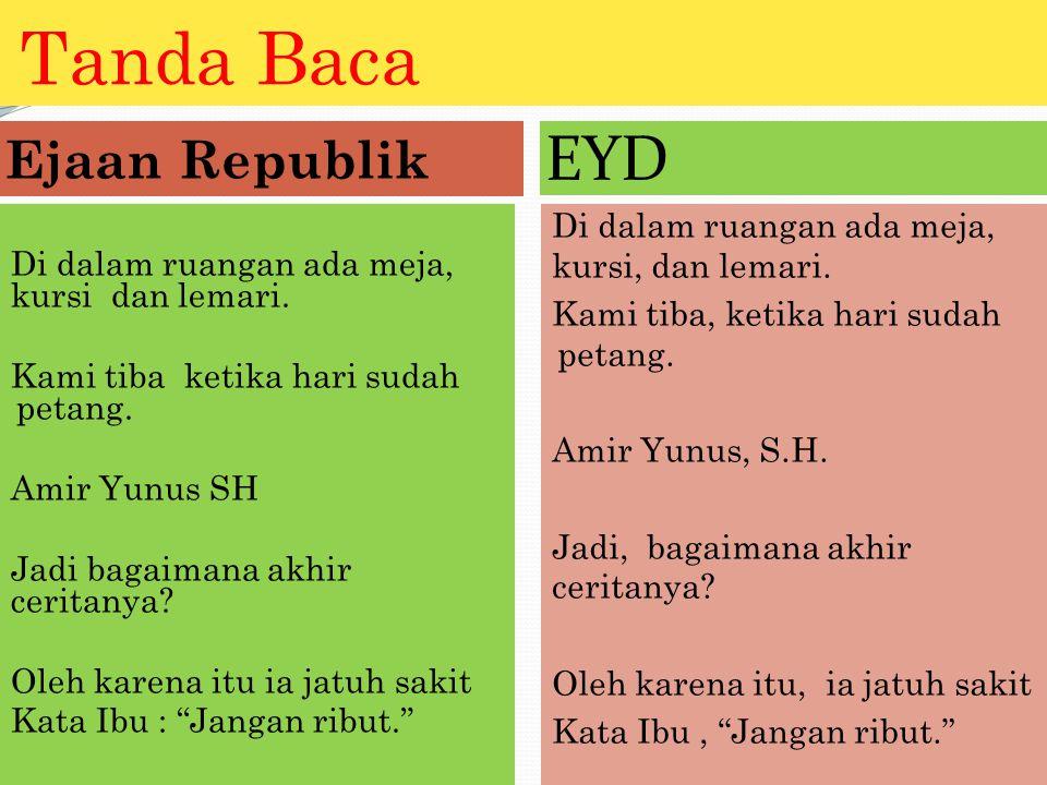 Tanda Baca EYD Ejaan Republik
