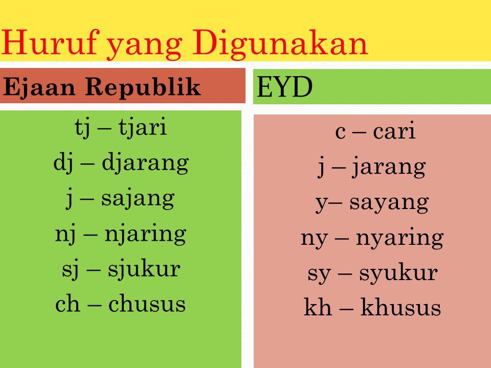 Huruf yang Digunakan EYD Ejaan Republik